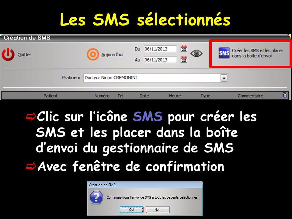 Clic sur licône SMS pour créer les SMS et les placer dans la boîte denvoi du gestionnaire de SMS Avec fenêtre de confirmation Les SMS sélectionnés