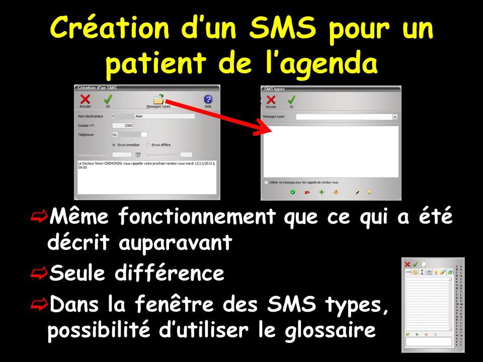 Création dun SMS pour un patient de lagenda Même fonctionnement que ce qui a été décrit auparavant Seule différence Dans la fenêtre des SMS types, possibilité dutiliser le glossaire
