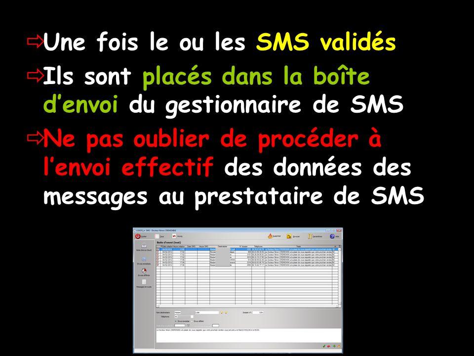 Une fois le ou les SMS validés Ils sont placés dans la boîte denvoi du gestionnaire de SMS Ne pas oublier de procéder à lenvoi effectif des données de