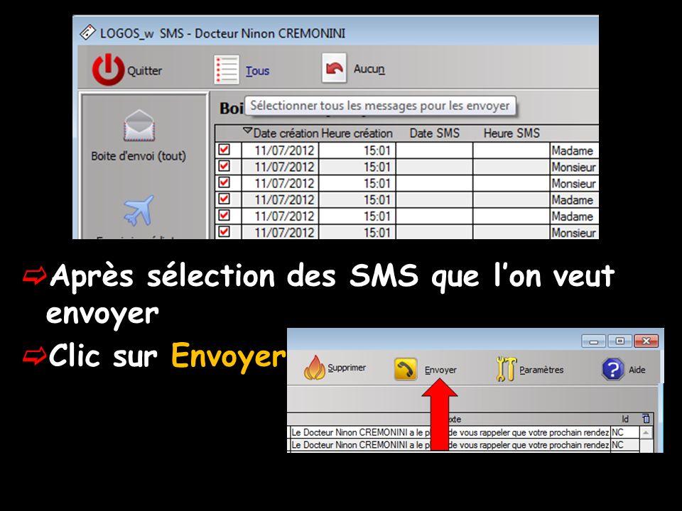 Après sélection des SMS que lon veut envoyer Clic sur Envoyer
