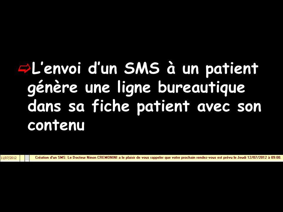 Lenvoi dun SMS à un patient génère une ligne bureautique dans sa fiche patient avec son contenu