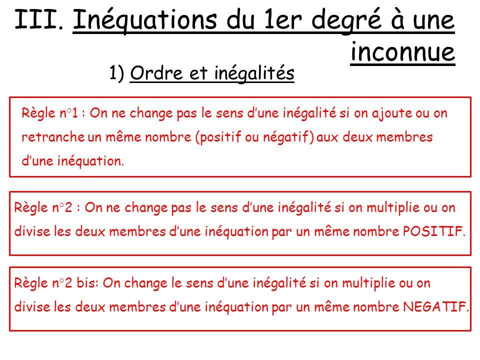 Règle n°1 : On ne change pas le sens dune inégalité si on ajoute ou on retranche un même nombre (positif ou négatif) aux deux membres dune inéquation.