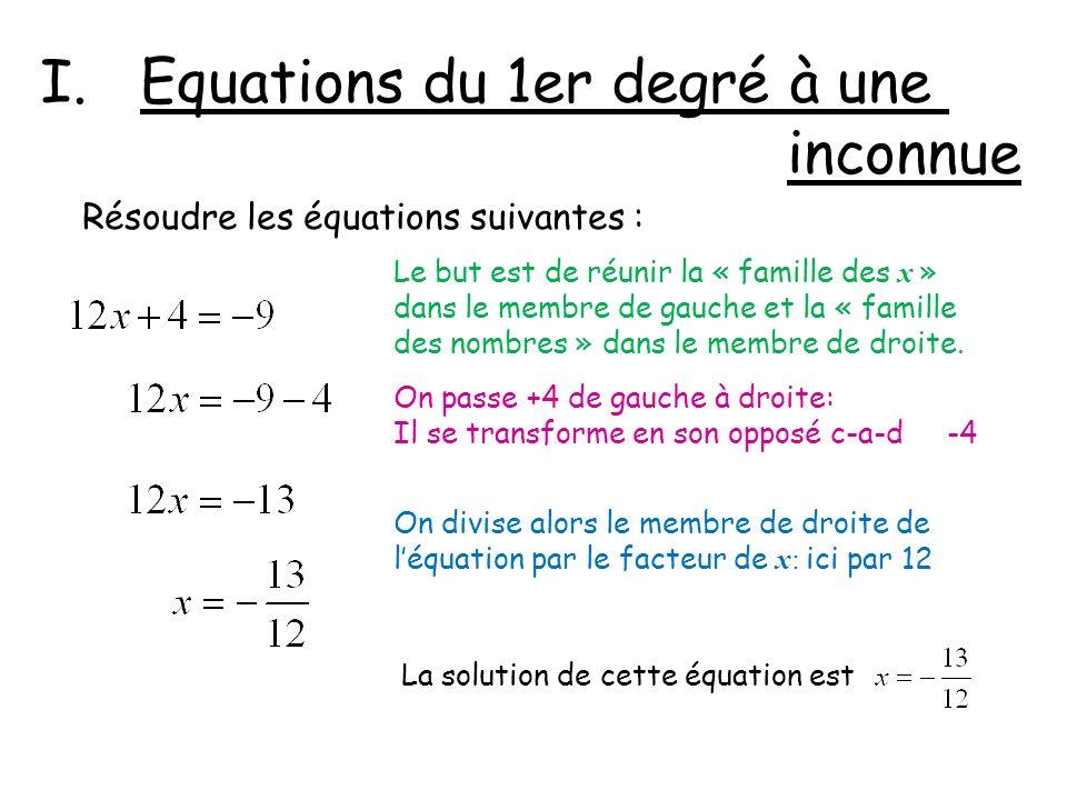 Résoudre les équations suivantes : Le but est de réunir la « famille des x » dans le membre de gauche et la « famille des nombres » dans le membre de