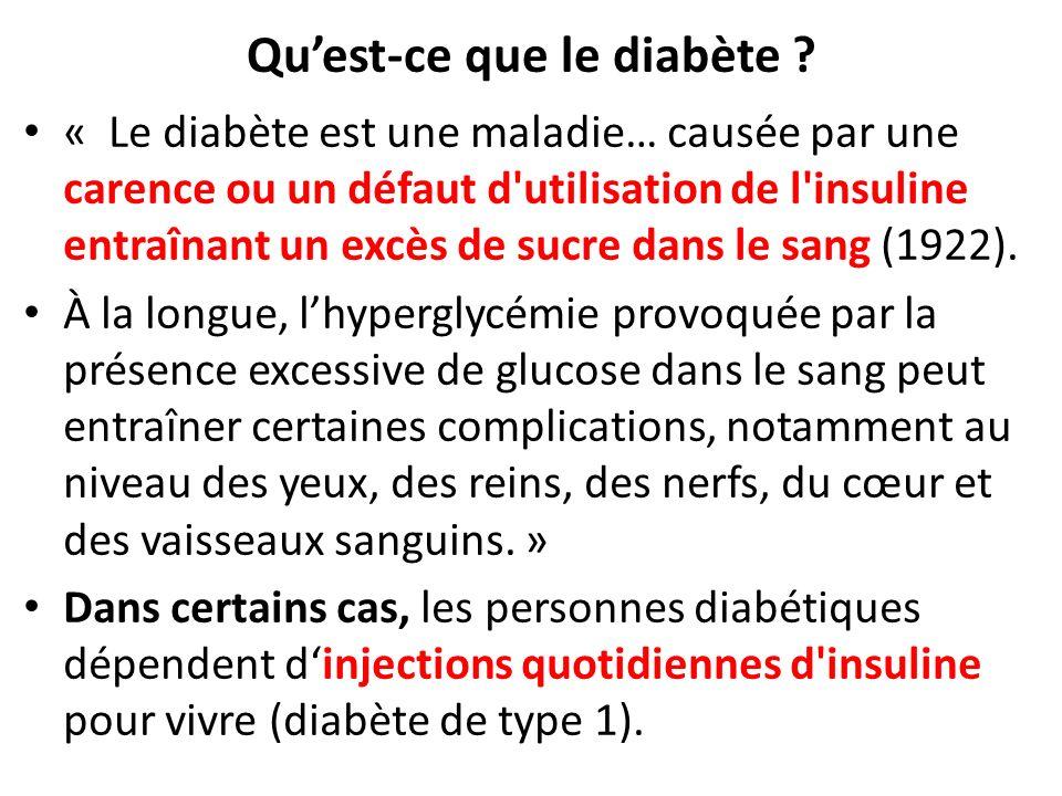 Quest-ce que le diabète ? « Le diabète est une maladie… causée par une carence ou un défaut d'utilisation de l'insuline entraînant un excès de sucre d