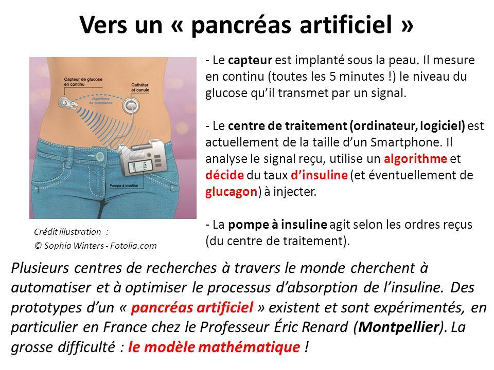 Vers un « pancréas artificiel » Crédit illustration : © Sophia Winters - Fotolia.com - Le capteur est implanté sous la peau. Il mesure en continu (tou