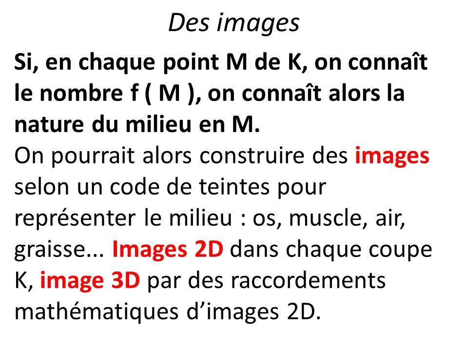 Des images Si, en chaque point M de K, on connaît le nombre f ( M ), on connaît alors la nature du milieu en M. On pourrait alors construire des image