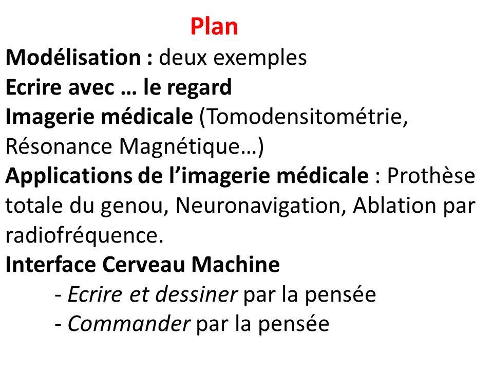 Plan Modélisation : deux exemples Ecrire avec … le regard Imagerie médicale (Tomodensitométrie, Résonance Magnétique…) Applications de limagerie médic