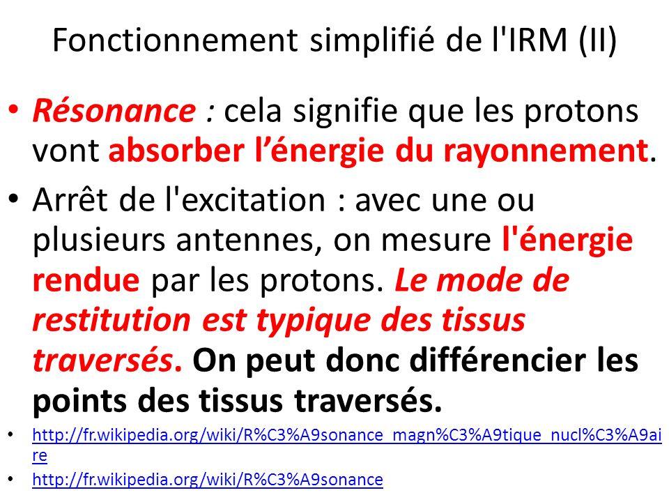Fonctionnement simplifié de l'IRM (II) Résonance : cela signifie que les protons vont absorber lénergie du rayonnement. Arrêt de l'excitation : avec u