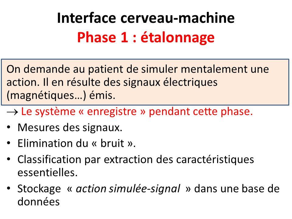 Interface cerveau-machine Phase 1 : étalonnage On demande au patient de simuler mentalement une action. Il en résulte des signaux électriques (magnéti