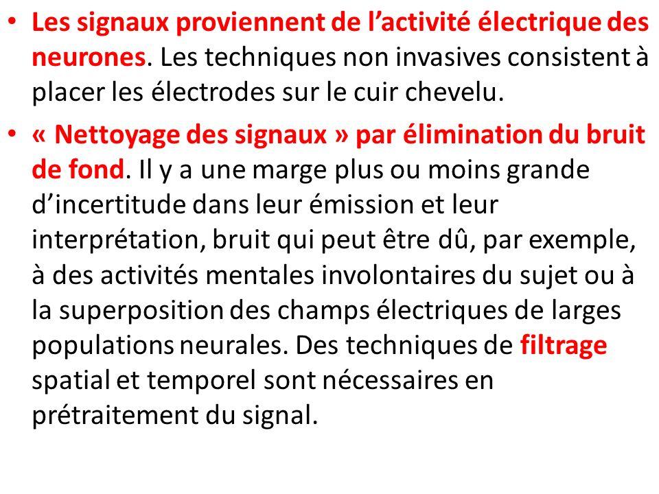 Les signaux proviennent de lactivité électrique des neurones. Les techniques non invasives consistent à placer les électrodes sur le cuir chevelu. « N