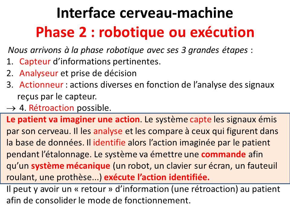 Interface cerveau-machine Phase 2 : robotique ou exécution Nous arrivons à la phase robotique avec ses 3 grandes étapes : 1. Capteur dinformations per