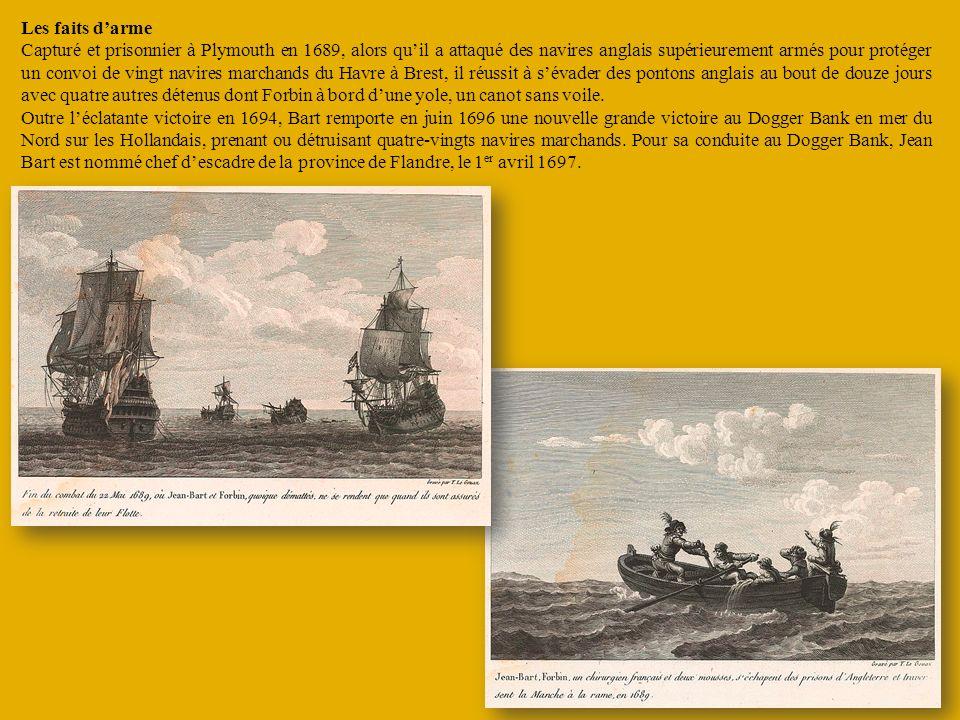 Les faits darme Capturé et prisonnier à Plymouth en 1689, alors quil a attaqué des navires anglais supérieurement armés pour protéger un convoi de vin