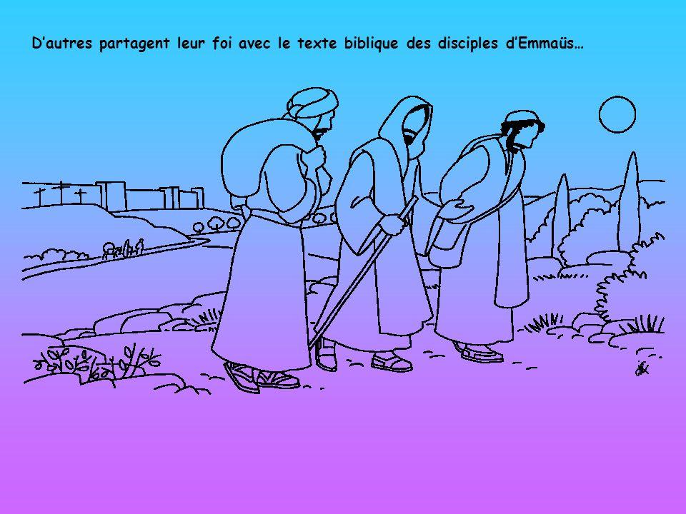 Dautres partagent leur foi avec le texte biblique des disciples dEmmaüs…