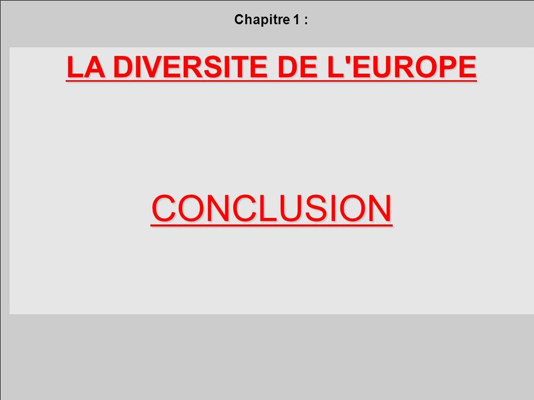 Chapitre 1 : LA DIVERSITE DE L EUROPE CONCLUSION