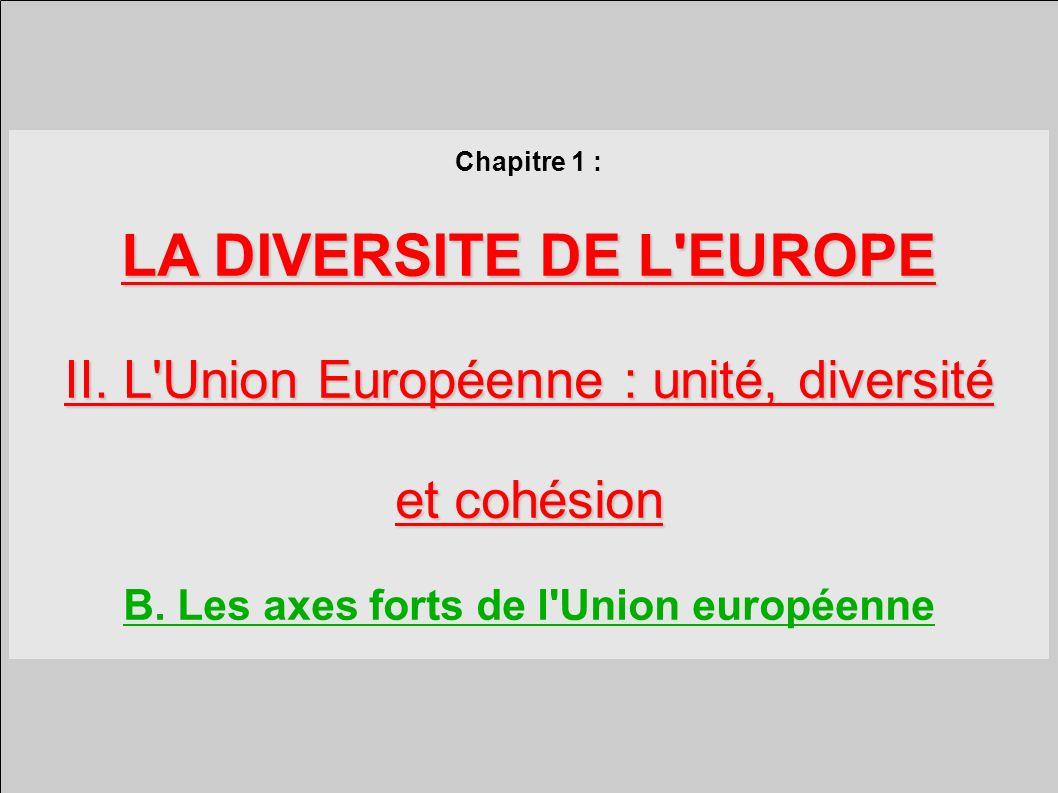 Chapitre 1 : LA DIVERSITE DE L EUROPE II.L Union Européenne : unité, diversité et cohésion B.