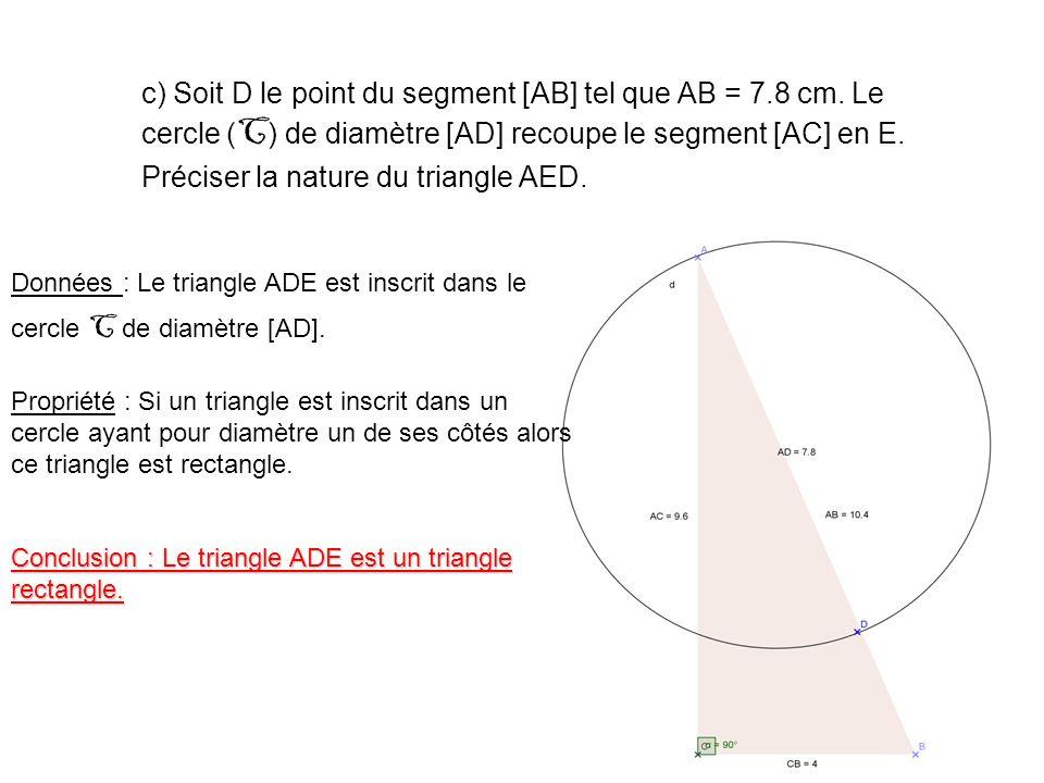 d) Démontrer que les droites (BC) et (DE) sont parallèles.