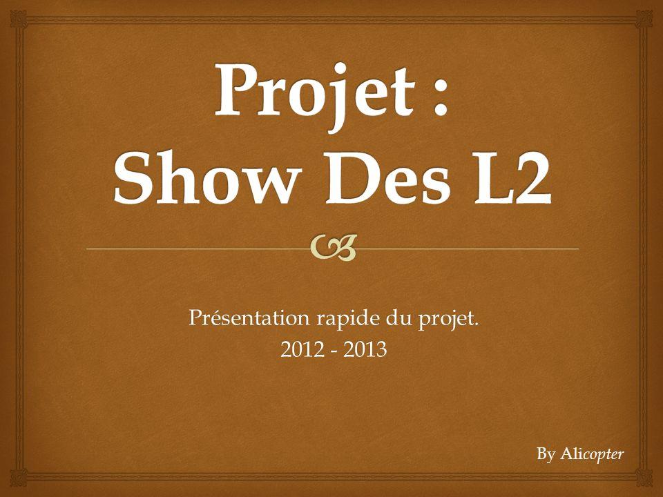 Présentation rapide du projet. 2012 - 2013 By Ali copter