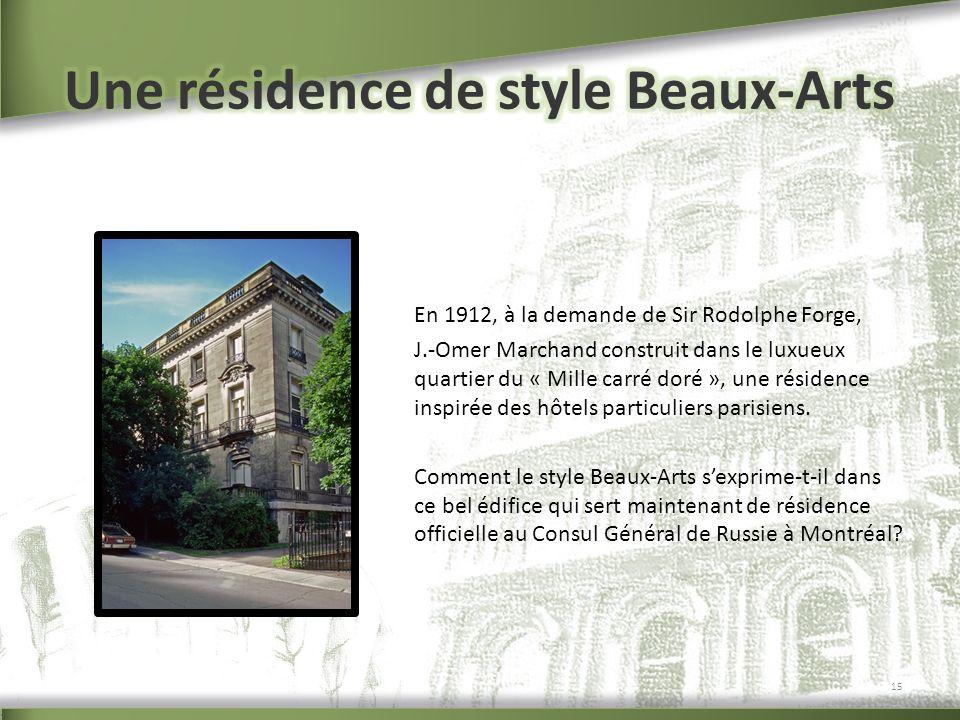 En 1912, à la demande de Sir Rodolphe Forge, J.-Omer Marchand construit dans le luxueux quartier du « Mille carré doré », une résidence inspirée des h