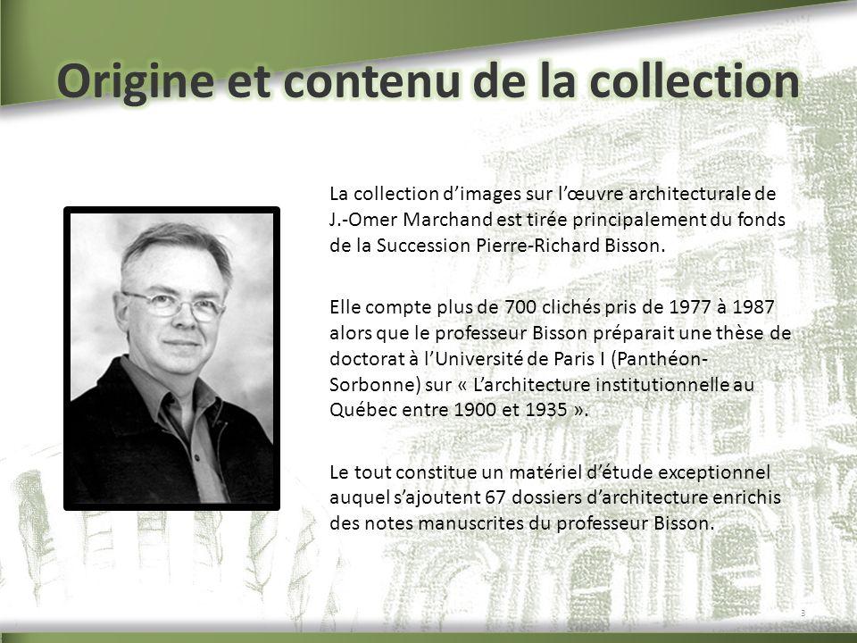 La collection dimages sur lœuvre architecturale de J.-Omer Marchand est tirée principalement du fonds de la Succession Pierre-Richard Bisson. Elle com