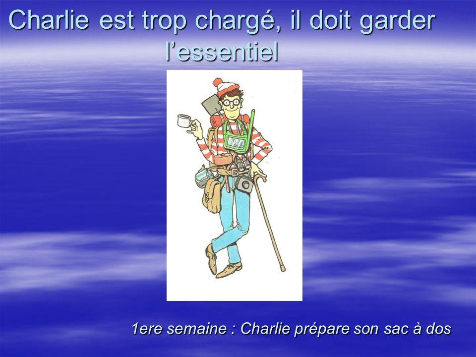 1ere semaine : Charlie prépare son sac à dos Charlie est trop chargé, il doit garder lessentiel