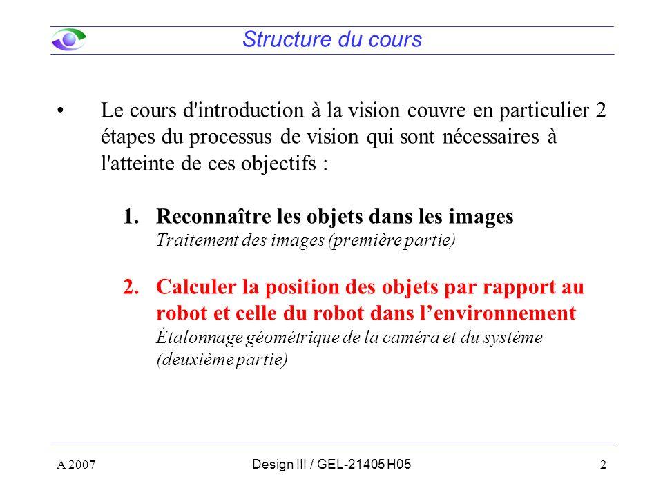 A 20072Design III / GEL-21405 H05 Le cours d introduction à la vision couvre en particulier 2 étapes du processus de vision qui sont nécessaires à l atteinte de ces objectifs : 1.Reconnaître les objets dans les images Traitement des images (première partie) 2.Calculer la position des objets par rapport au robot et celle du robot dans lenvironnement Étalonnage géométrique de la caméra et du système (deuxième partie) Structure du cours