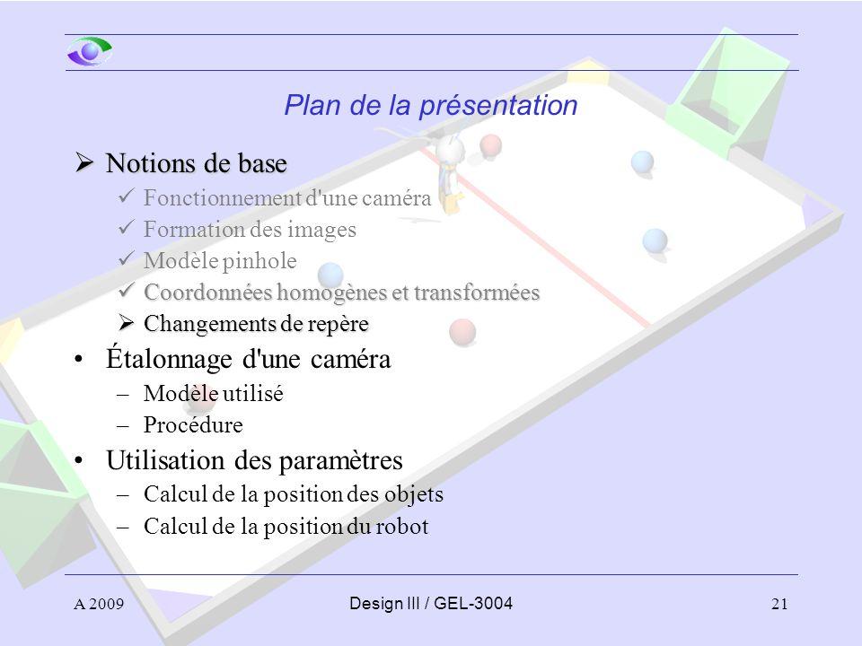 21 Plan de la présentation Notions de base Notions de base Fonctionnement d'une caméra Formation des images Modèle pinhole Coordonnées homogènes et tr
