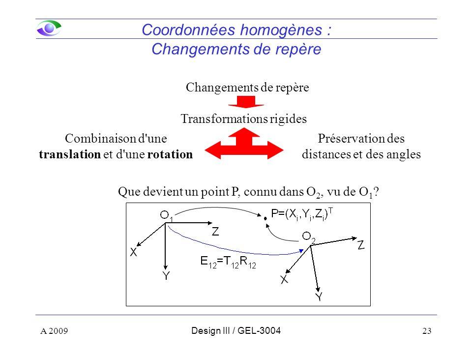 23 Coordonnées homogènes : Changements de repère Changements de repère Transformations rigides Combinaison d une translation et d une rotation Préservation des distances et des angles Que devient un point P, connu dans O 2, vu de O 1 .