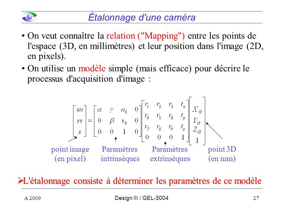 27 Étalonnage d une caméra On veut connaître la relation ( Mapping ) entre les points de l espace (3D, en millimètres) et leur position dans l image (2D, en pixels).