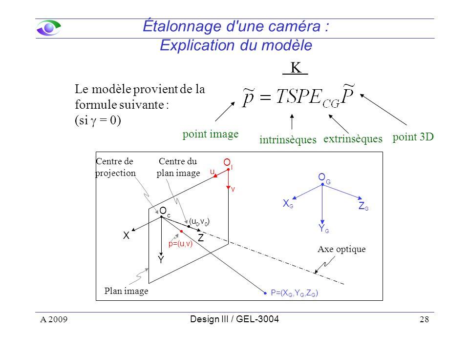28 Étalonnage d une caméra : Explication du modèle intrinsèques extrinsèques point 3D point image Le modèle provient de la formule suivante : (si = 0) Z Y X u v O I O c ZGZG YGYG XGXG O G (u 0,v 0 ) p=(u,v) P=(X G,Y G,Z G ) Centre de projection Axe optique Centre du plan image Plan image A 2009Design III / GEL-3004 K