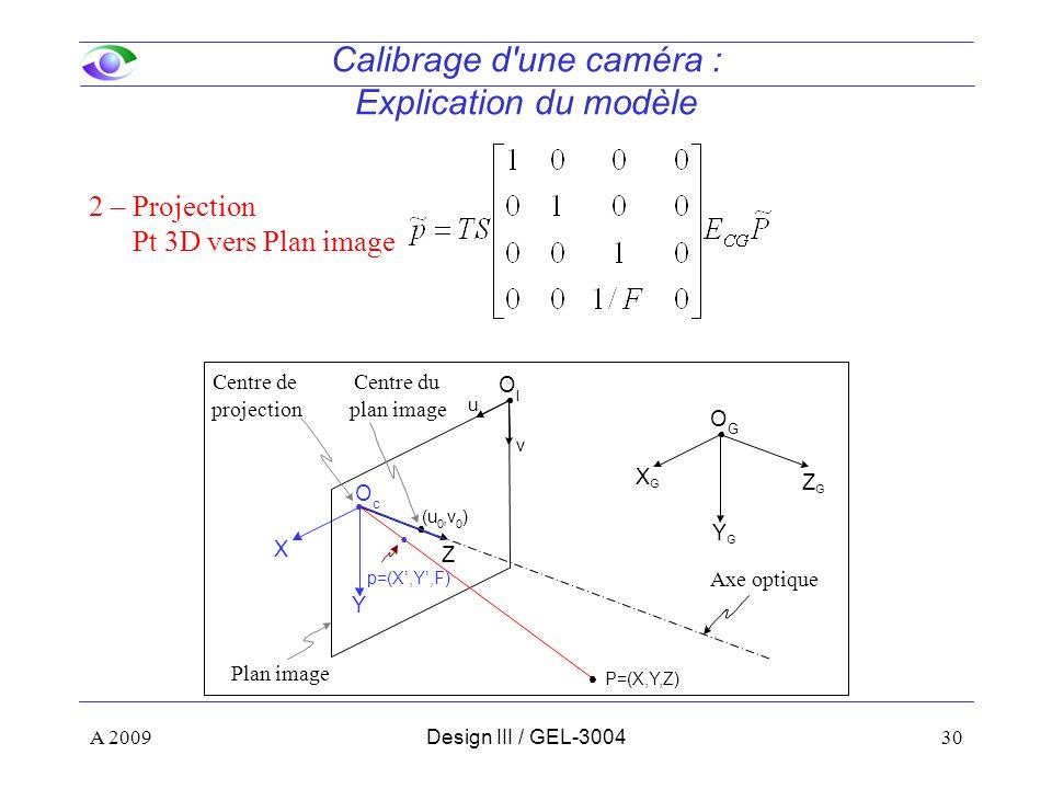 30 Calibrage d une caméra : Explication du modèle 2 – Projection Pt 3D vers Plan image Z Y X O c ZGZG YGYG XGXG O G (u 0,v 0 ) P=(X,Y,Z) Centre de projection Axe optique Centre du plan image u v O I Plan image A 2009Design III / GEL-3004 p=(X,Y,F)