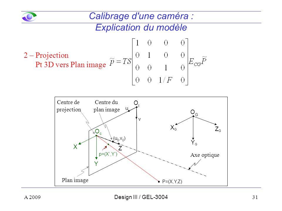 31 Calibrage d une caméra : Explication du modèle Z Y X O c ZGZG YGYG XGXG O G (u 0,v 0 ) P=(X,Y,Z) Centre de projection Axe optique Centre du plan image u v O I Plan image A 2009Design III / GEL-3004 p=(X,Y) 2 – Projection Pt 3D vers Plan image