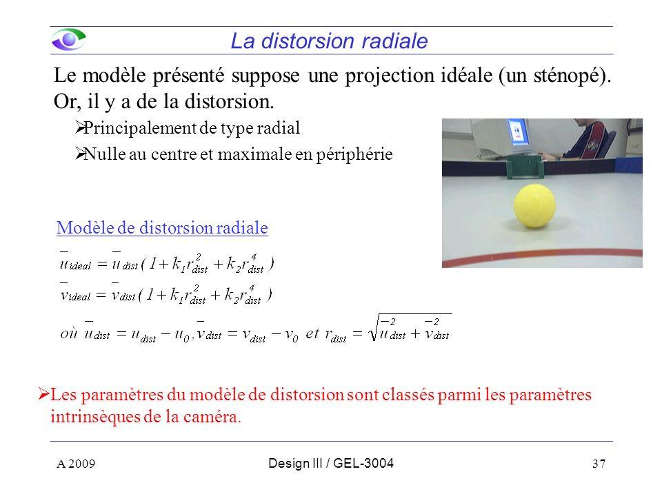 37 La distorsion radiale Le modèle présenté suppose une projection idéale (un sténopé). Or, il y a de la distorsion. Principalement de type radial Nul