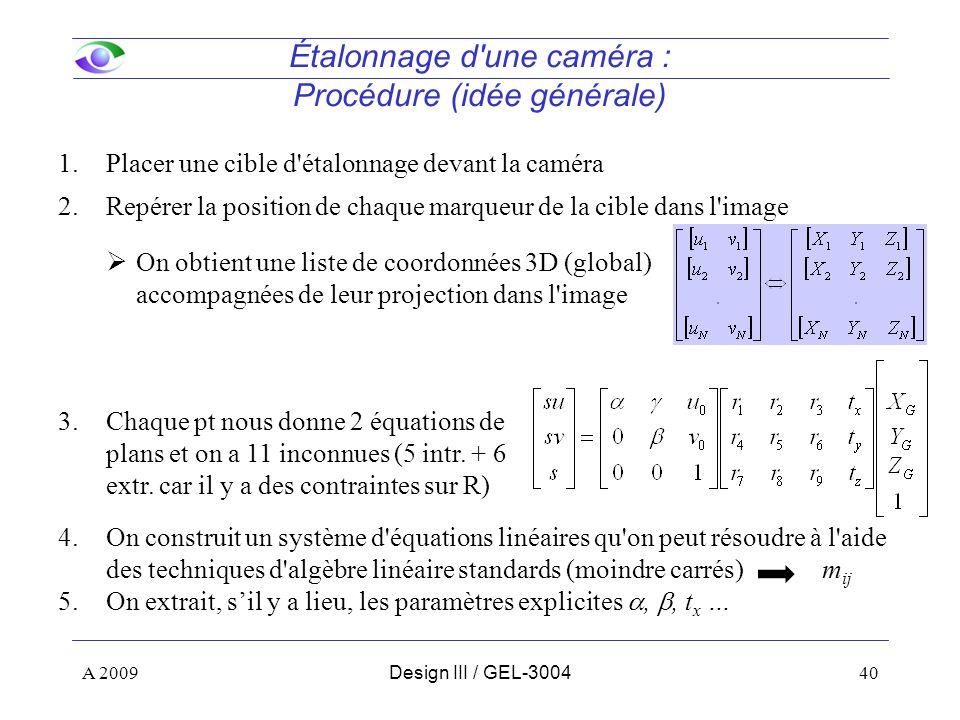 40 Étalonnage d une caméra : Procédure (idée générale) 1.Placer une cible d étalonnage devant la caméra 2.Repérer la position de chaque marqueur de la cible dans l image On obtient une liste de coordonnées 3D (global) accompagnées de leur projection dans l image 3.Chaque pt nous donne 2 équations de plans et on a 11 inconnues (5 intr.