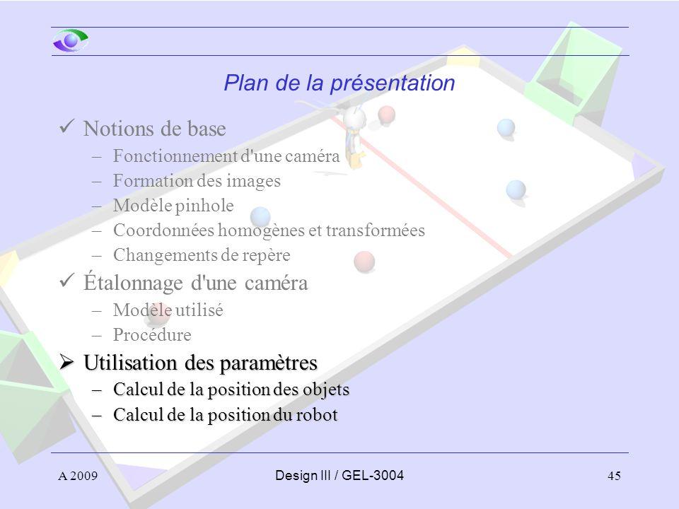 45 Plan de la présentation Notions de base –Fonctionnement d'une caméra –Formation des images –Modèle pinhole –Coordonnées homogènes et transformées –