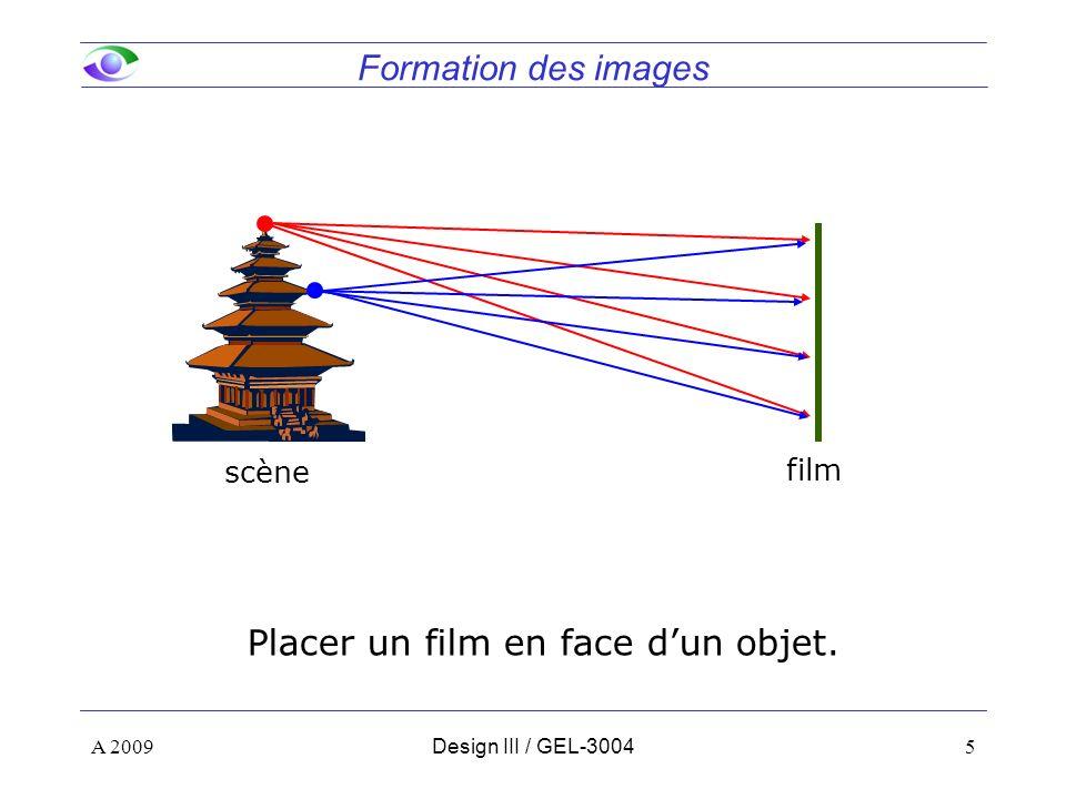 5 Formation des images A 2009Design III / GEL-3004 scène film Placer un film en face dun objet.
