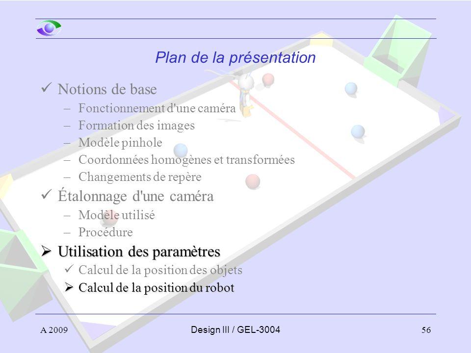 56 Plan de la présentation Notions de base –Fonctionnement d'une caméra –Formation des images –Modèle pinhole –Coordonnées homogènes et transformées –