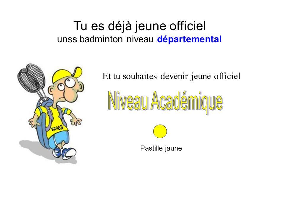 Tu es déjà jeune officiel unss badminton niveau départemental Pastille jaune Et tu souhaites devenir jeune officiel
