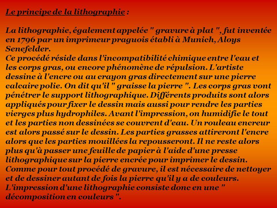 Le principe de la lithographie : La lithographie, également appelée