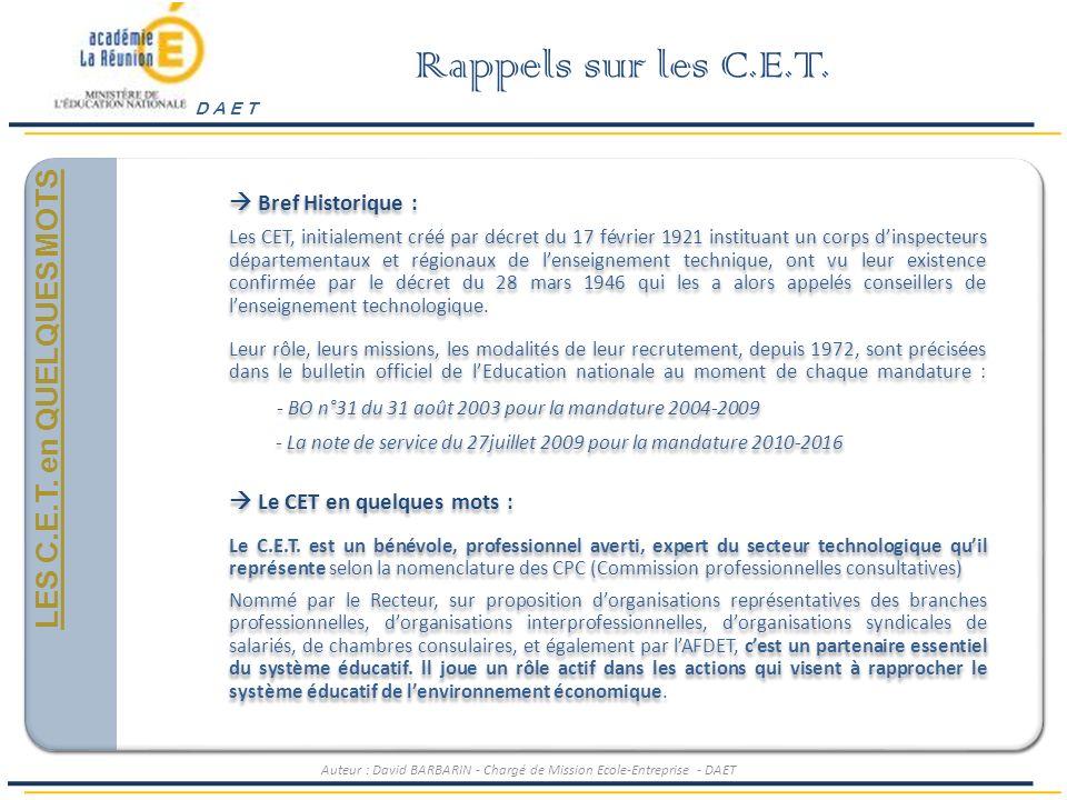 Rappels sur les C.E.T. Généralités et Positionnement LES C.E.T.