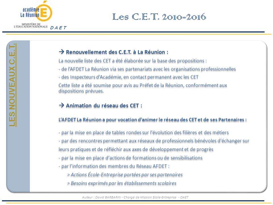 Les C.E.T. 2010-2016 Généralités et Positionnement LES NOUVEAUX C.E.T.