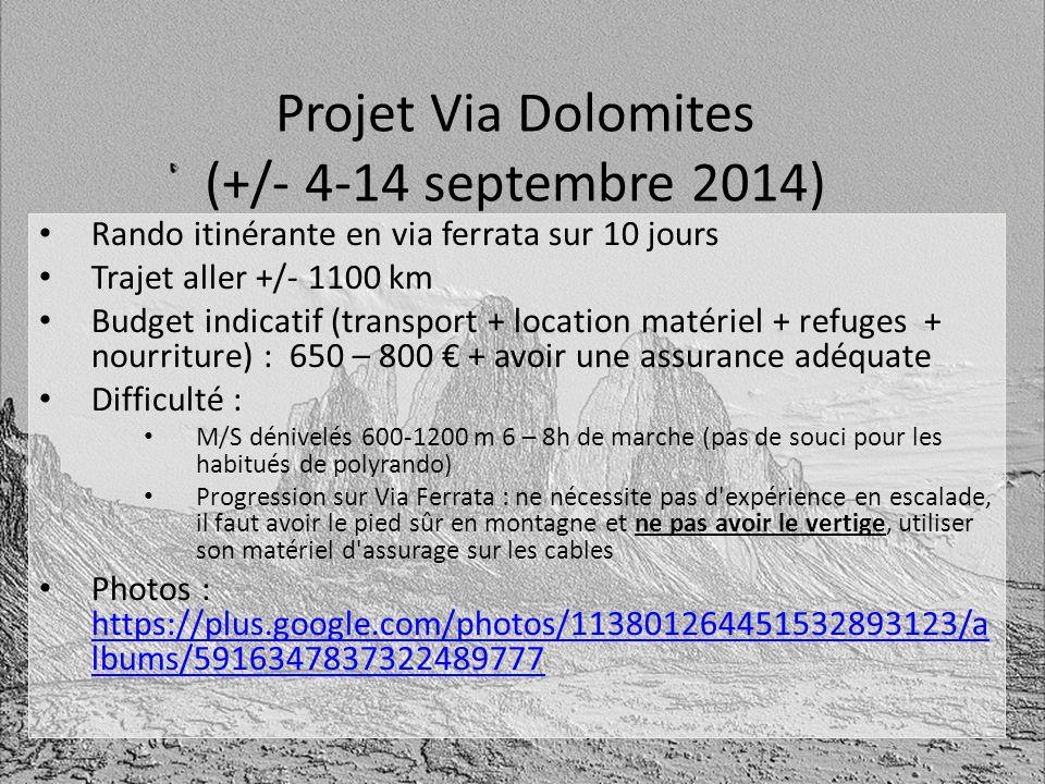 Projet Via Dolomites (+/- 4-14 septembre 2014) Rando itinérante en via ferrata sur 10 jours Trajet aller +/- 1100 km Budget indicatif (transport + loc