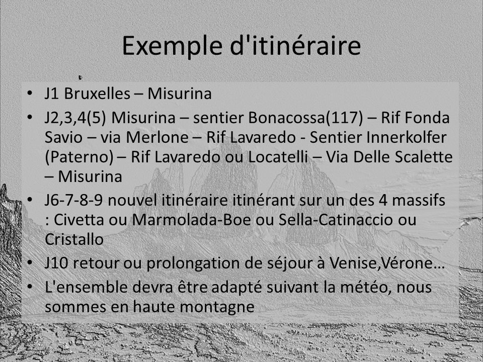 Exemple d'itinéraire J1 Bruxelles – Misurina J2,3,4(5) Misurina – sentier Bonacossa(117) – Rif Fonda Savio – via Merlone – Rif Lavaredo - Sentier Inne