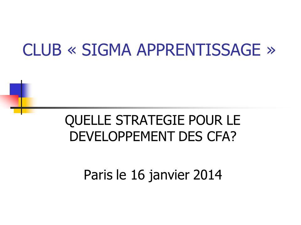 CLUB « SIGMA APPRENTISSAGE » QUELLE STRATEGIE POUR LE DEVELOPPEMENT DES CFA? Paris le 16 janvier 2014