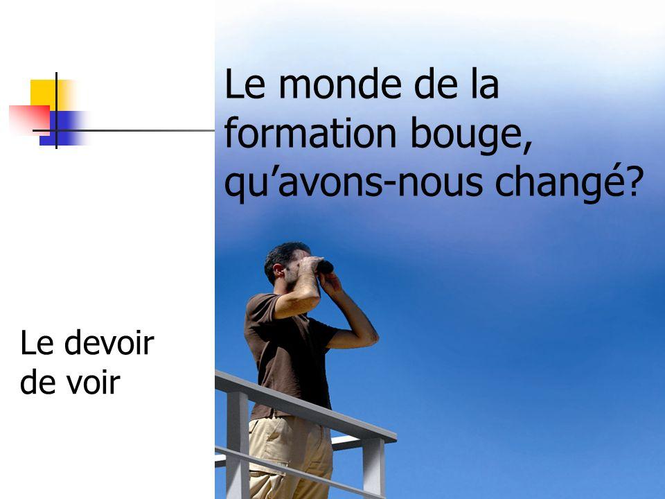 CDM - dir. A. Malicot - 1/10/2010 Le monde de la formation bouge, quavons-nous changé? Le devoir de voir
