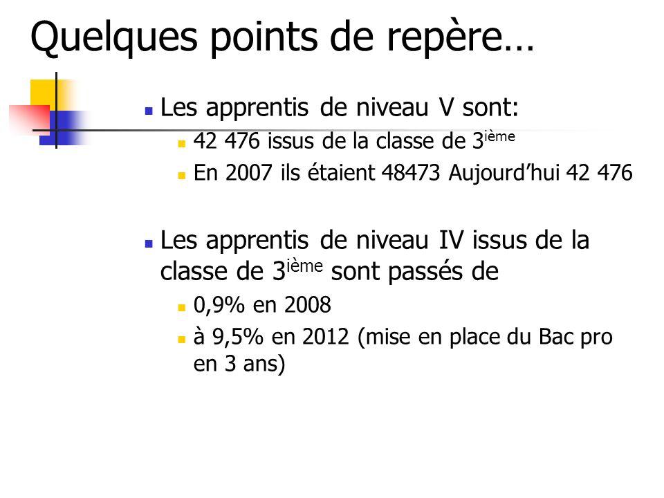 Quelques points de repère… Les apprentis de niveau V sont: 42 476 issus de la classe de 3 ième En 2007 ils étaient 48473 Aujourdhui 42 476 Les apprent