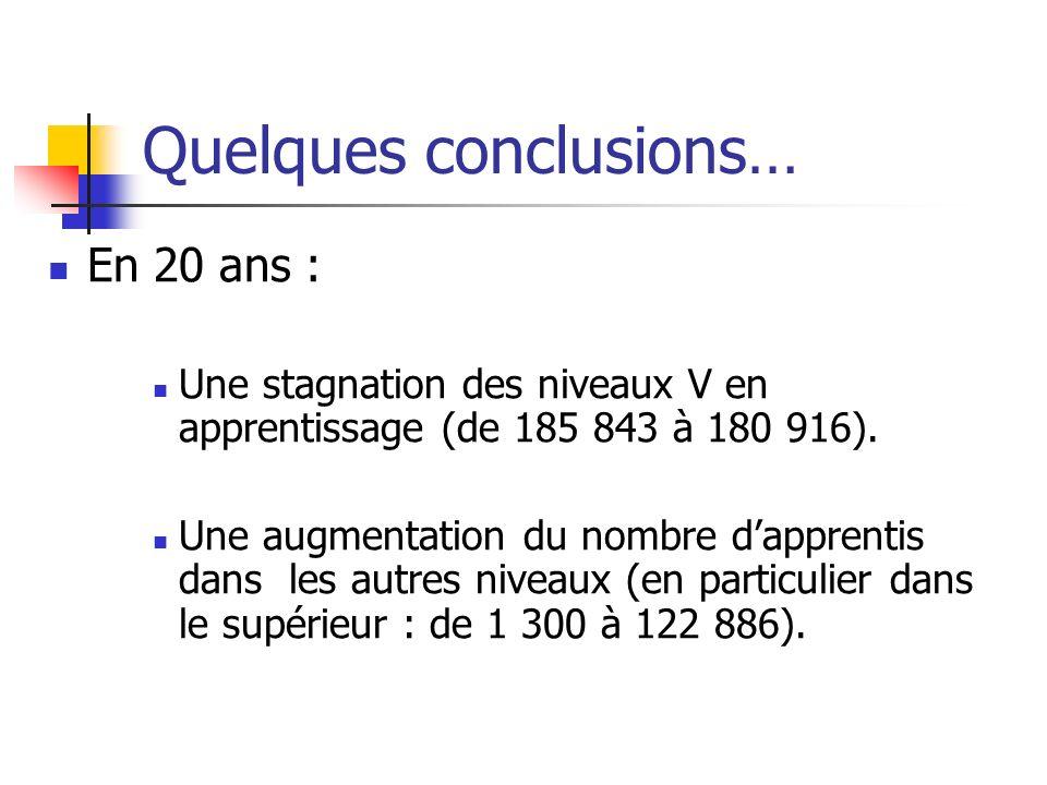 Quelques conclusions… En 20 ans : Une stagnation des niveaux V en apprentissage (de 185 843 à 180 916). Une augmentation du nombre dapprentis dans les