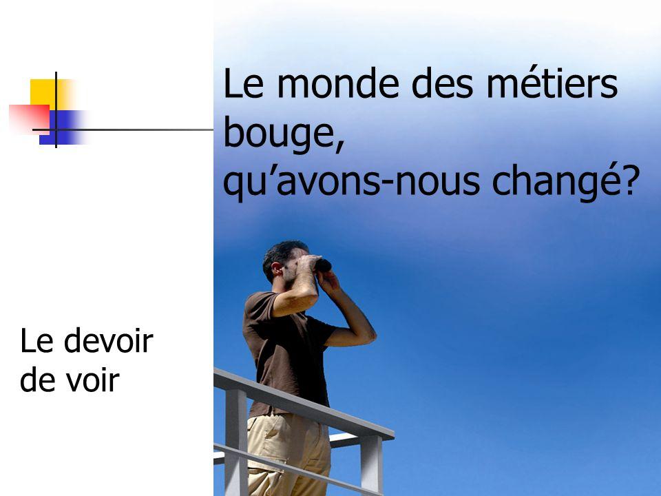 CDM - dir. A. Malicot - 1/10/2010 Le monde des métiers bouge, quavons-nous changé? Le devoir de voir