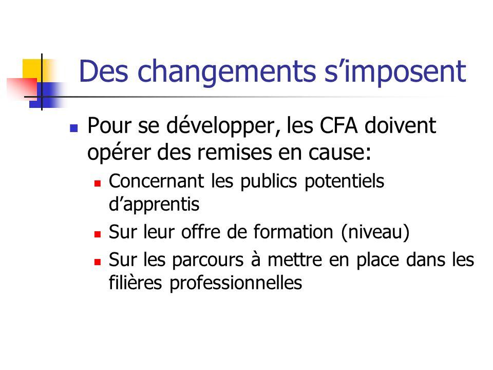 Des changements simposent Pour se développer, les CFA doivent opérer des remises en cause: Concernant les publics potentiels dapprentis Sur leur offre