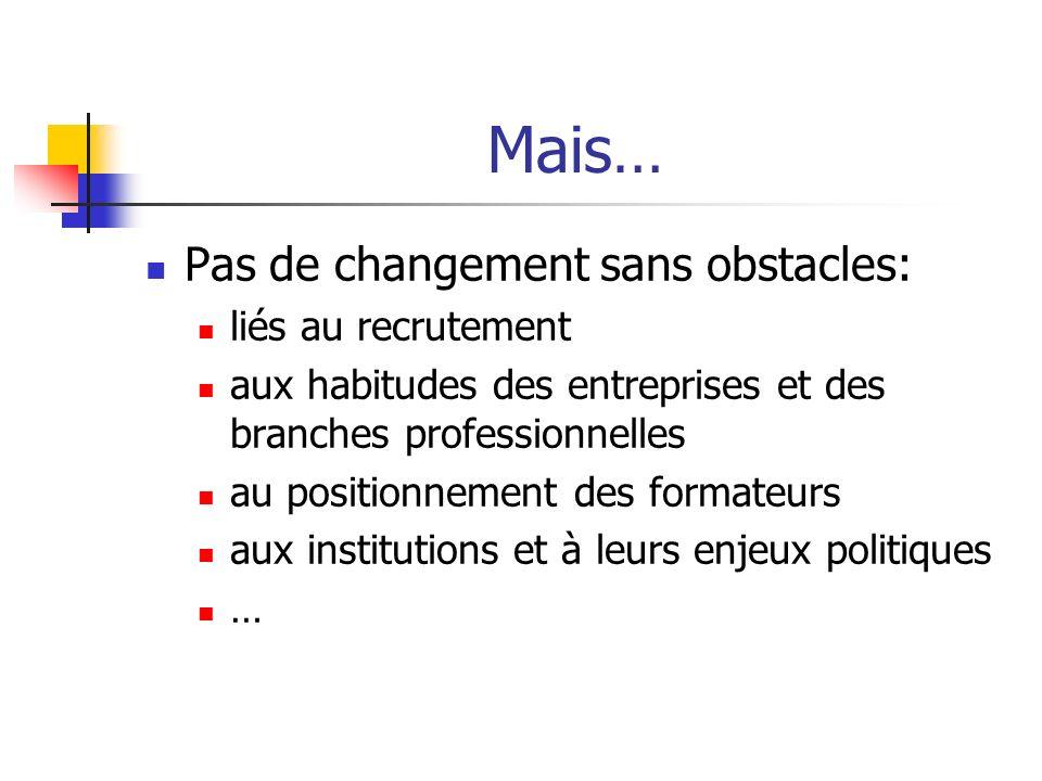 Mais… Pas de changement sans obstacles: liés au recrutement aux habitudes des entreprises et des branches professionnelles au positionnement des forma