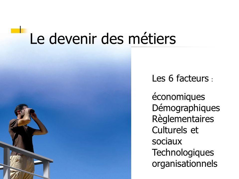 Le devenir des métiers Les 6 facteurs : économiques Démographiques Règlementaires Culturels et sociaux Technologiques organisationnels